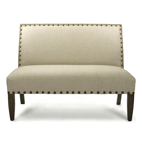 settee banquette french country cottage light linen banquette dining settee