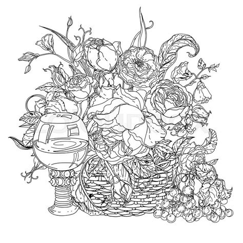 color therapy an anti stress coloring book preview still with vintage glass grapes luxurious bouquet