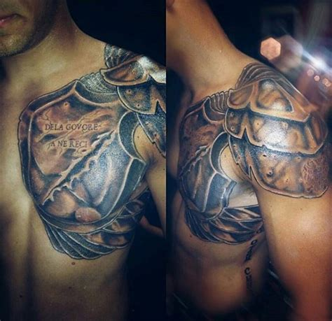 detailed tattoos ancient warrior armor detailed on shoulder and