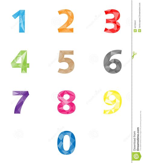 geometric pattern numbers colorful polygonal numbers set stock vector image 40706641