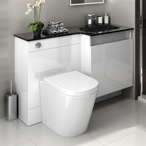 Glass Bathroom Vanity Units 1200 White Modern Bathroom Vanity Unit Black Glass Basin