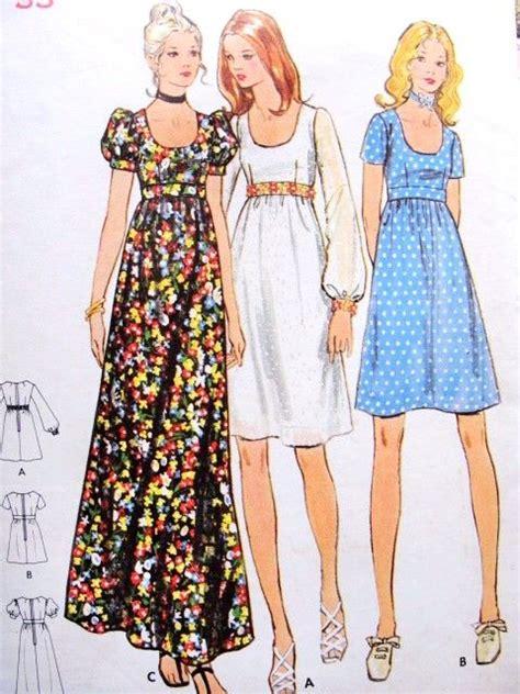 free pattern empire waist dress 1970s empire waist dress or maxi gown pattern butterick