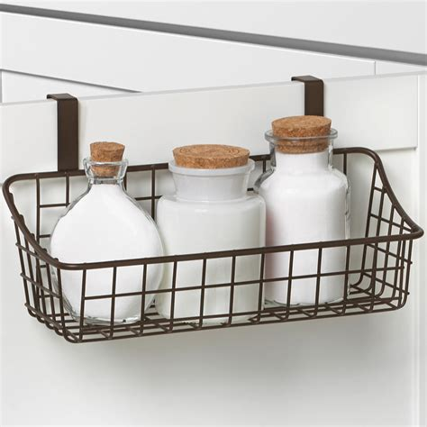 Cabinet Door Storage Basket Cabinet Door Basket With Towel Bar In Cabinet Door Organizers