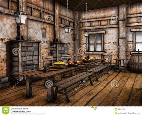 fantasie d interni vecchio interno della locanda illustrazione di stock