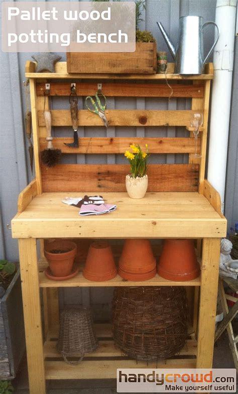 wood pallet potting bench pallet wood potting bench handycrowd com