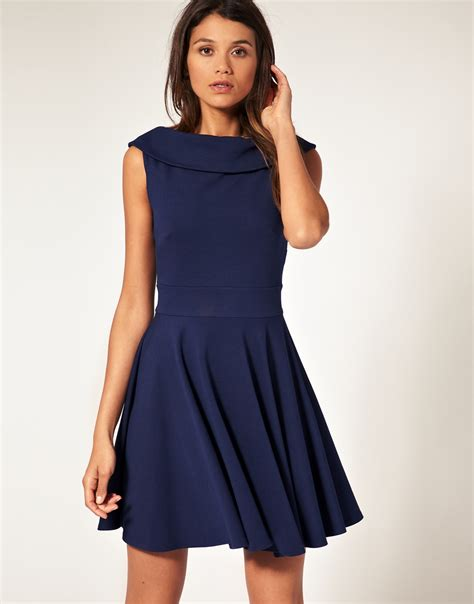 boat neck dress navy asos collection asos ponti fit and flare dress with boat