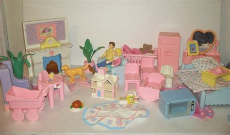 playschool doll house playskool dollhouse furniture huge lot vintage 1990 fireplace figures dog baby