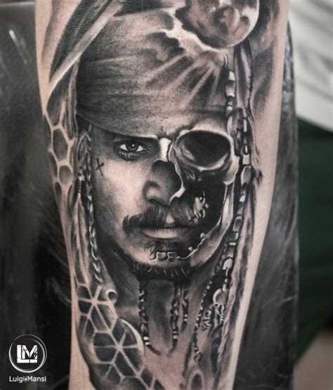 johnny depp s jack sparrow tattoo real galleria luigi mansi tattoo artist