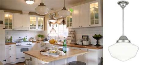 schoolhouse pendants in cottage kitchen