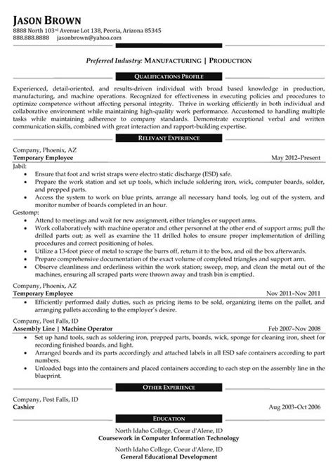 Resume Skills Exles Manufacturing Operations Resume Exles Resume Professional Writers