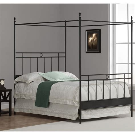 Cara Antique Style Full Size Black Metal Finished Canopy Size Canopy Bed