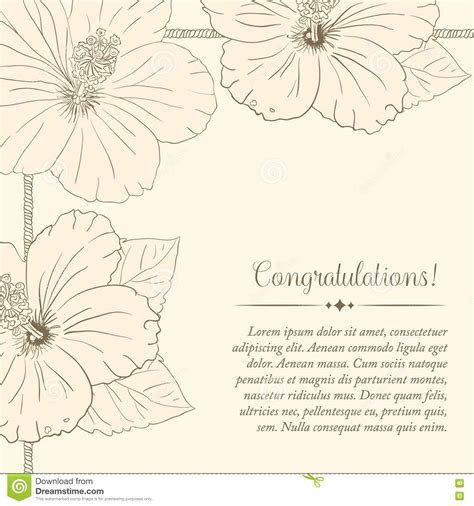 hibiscus card template congratulations card design template with hibiscus flowers