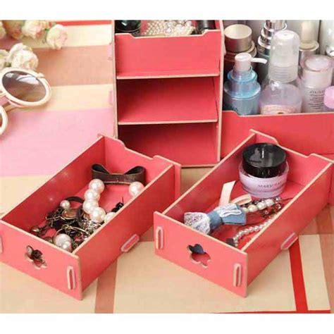 diy kotak kosmetik kayu l size pink jakartanotebook