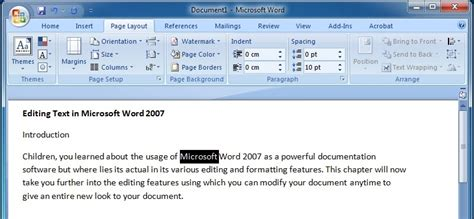 Microsoft Word Editor Editing Text In Microsoft Word 2007 Microsoft Word