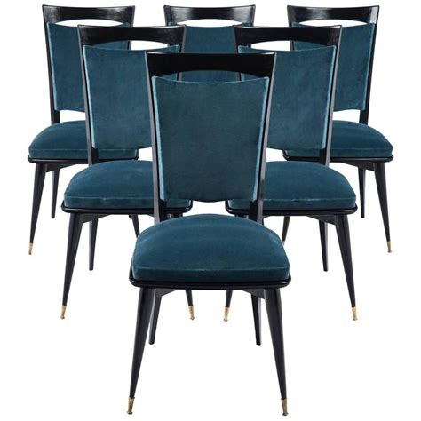 Velvet Dining Chairs Sale Mid Century Modern Period Set Of Six Teal Velvet Dining Chairs For Sale At 1stdibs