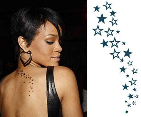 rihanna star tattoo cascading rihanna this
