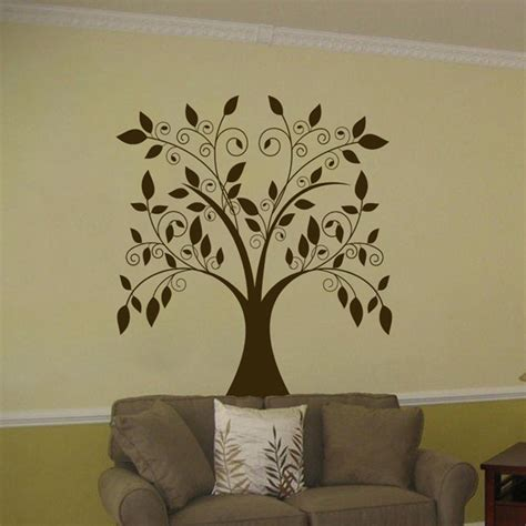tree sticker wall decal large swirling tree falling leaves vinyl wall decal