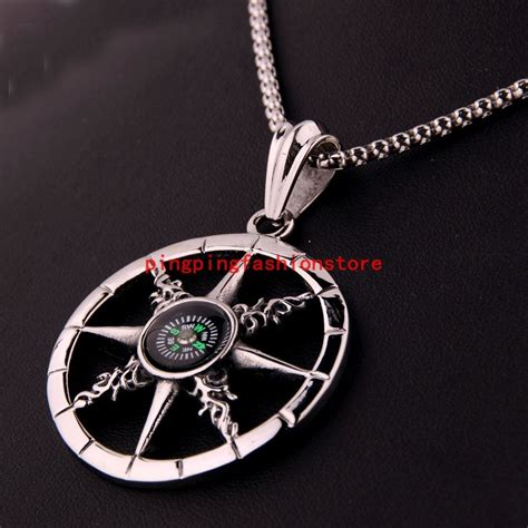 unique silver black stainless steel compass pendant