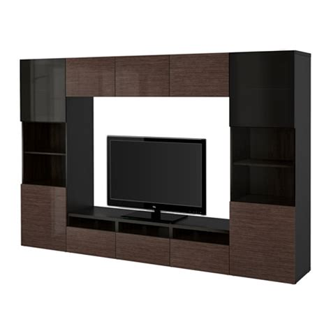 besta high gloss best 197 tv storage combination glass doors black brown