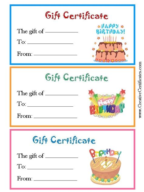 Birthday Card Gift Certificate Template by Free Customizable Birthday Gift Certificate Template