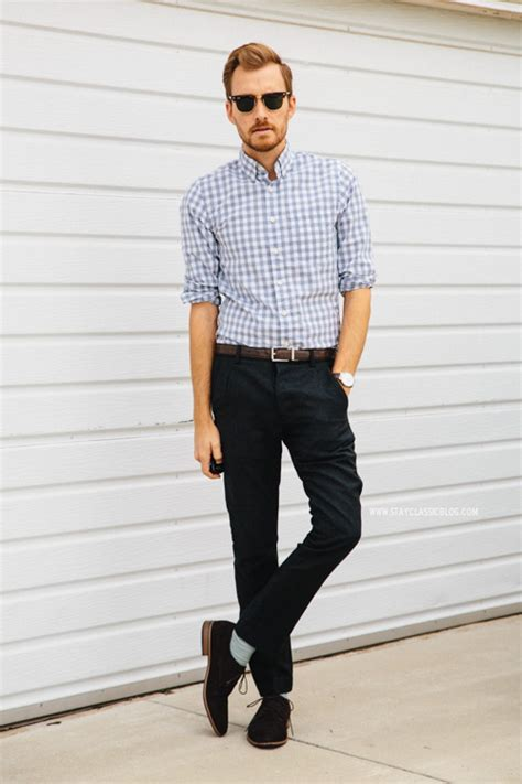 dark brown belt light brown shoes men s light blue gingham long sleeve shirt black chinos