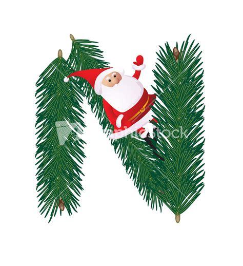 christmas decorative fir tree abc with funny santas