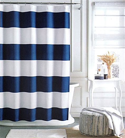 Tommy Hilfiger Cabana Stripe Shower Curtain Navy Blue