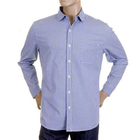 Checked Shirt buy monkey mens checked shirt in blue and white