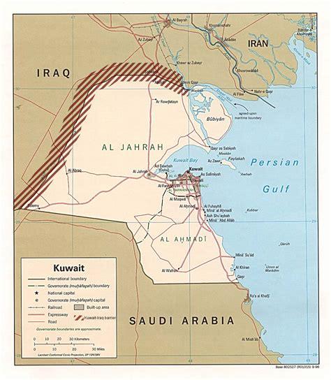 kuwait iraq map iraq kuwait barrier