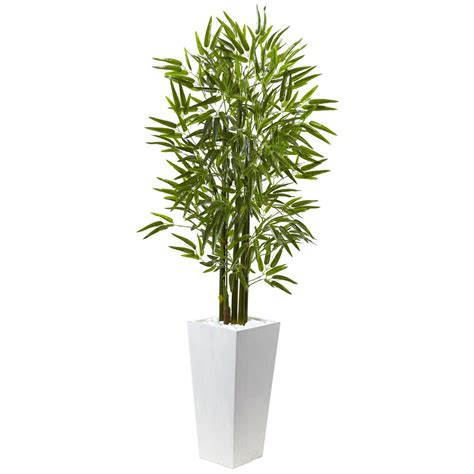 indoor tree planter nearly bamboo tree with white planter uv resistant indoor outdoor 5953 the home depot