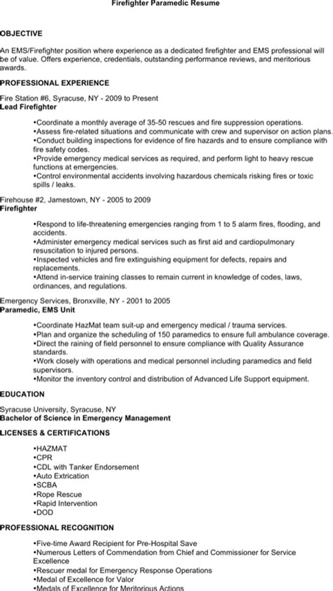 Download Firefighter Resume Templates For Free Formtemplate Firefighter Resume Templates Free