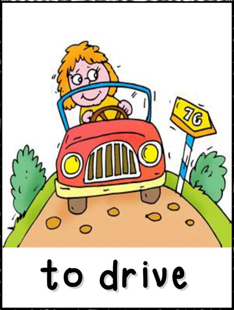 drive verb 3 action word clip art 43