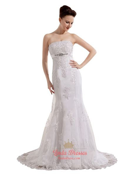 beaded empire waist wedding dress ivory strapless mermaid empire waist lace wedding dress