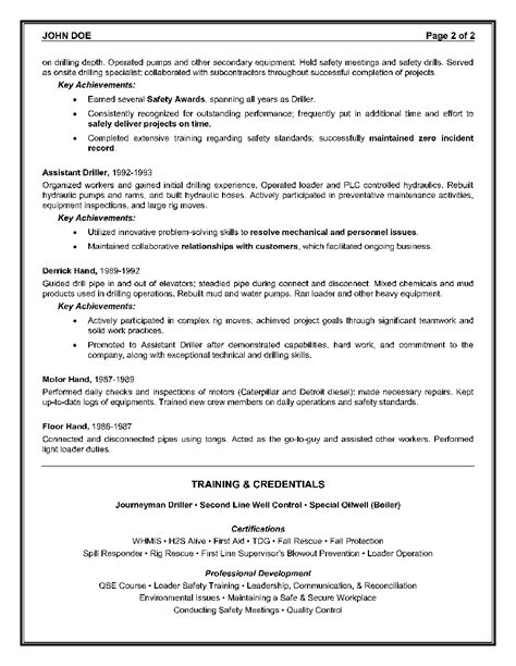 Oilfield Consultant Resume Sample Page 2   Canadian Resume