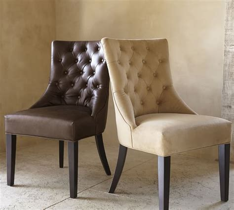 Pottery Barn Leather Dining Chair Tufted Leather Dining Side Chair Pottery Barn