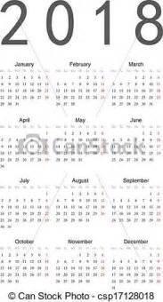 Kalendár Na 2018 Clip Arte Vetorial De Simples Calend 225 2018 Simple