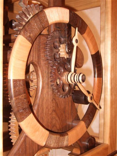 tall case  wooden gears clock finewoodworking