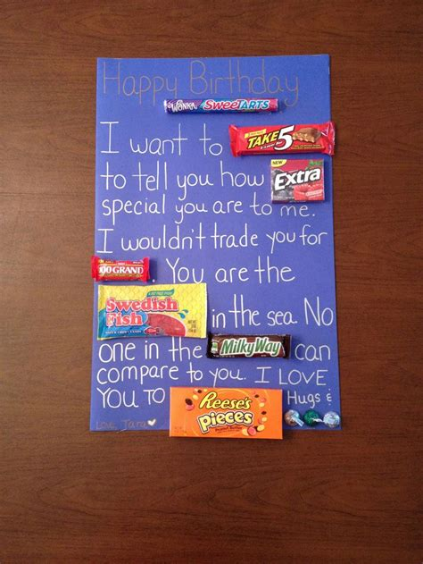 Birthday Card Ideas For Boyfriend Candy Birthday Card For Boyfriend Gift Ideas