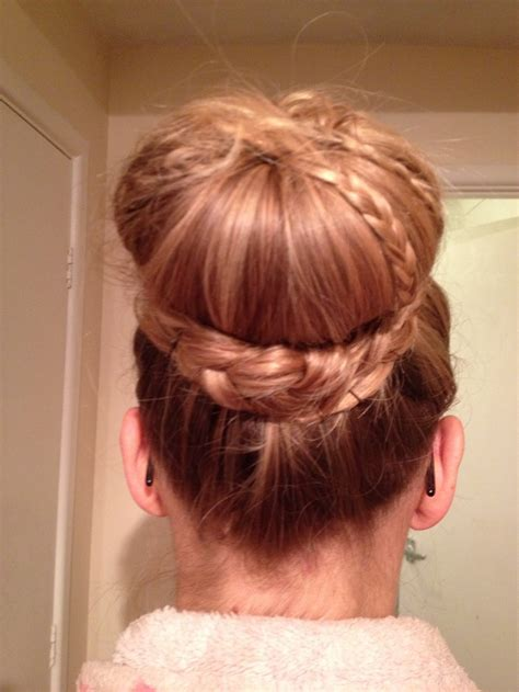 donut bun hairstyle with bangs double crown braid with donut bun tutorial long hairstyles