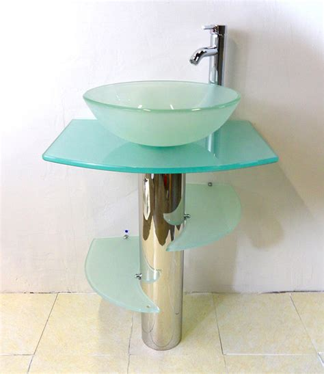 modern glass pedestal sink kokols bathroom vanity pedestal and frosted glass vessel