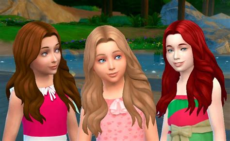 girl child hair sims 4 the sims 4 my stuff long wavy parted hairstyle for girls