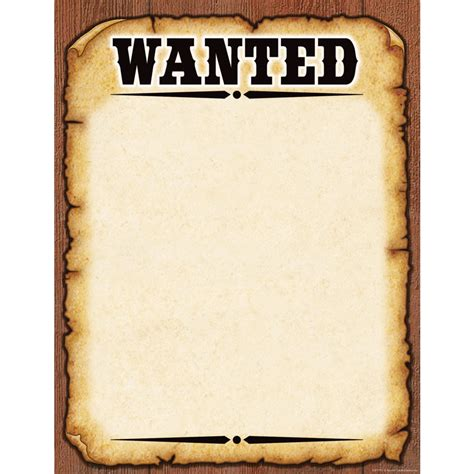 Western Wanted Poster Chart Tcr7725 Teacher Created Resources Western Wanted Poster Template