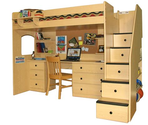 loft bed with stairs and desk how to build a loft bed with desk and stairs image