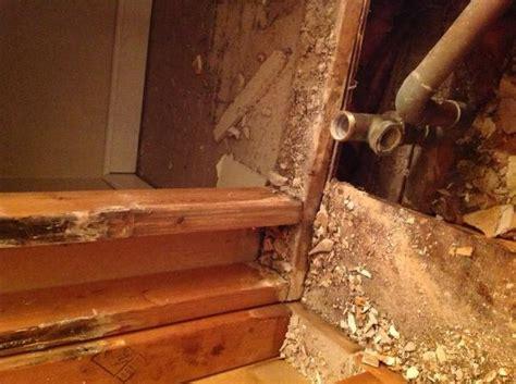 Bathroom Floor Repair Water Damage by Gutted Bathroom Slight Water Damage Not Sure To Replace