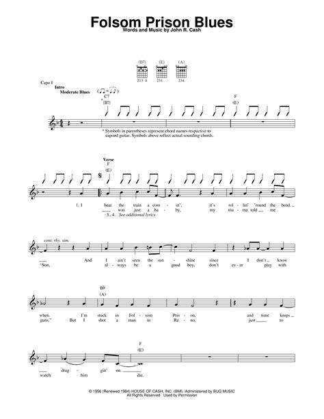 pattern of blues lyrics folsom prison blues sheet music by johnny cash easy
