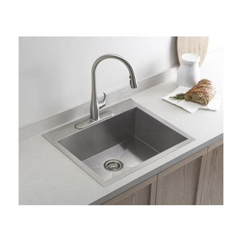 Mount Kitchen Sink by 19 Inch Top Mount Drop In Stainless Steel Single Bowl