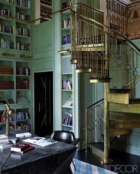 library staircase brass spiral staircase eclectic den library office