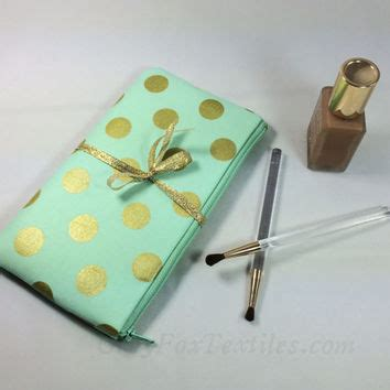 Large Shopping Bag Polka Mint Green gold polka dot pouch in mint green clutch pencil