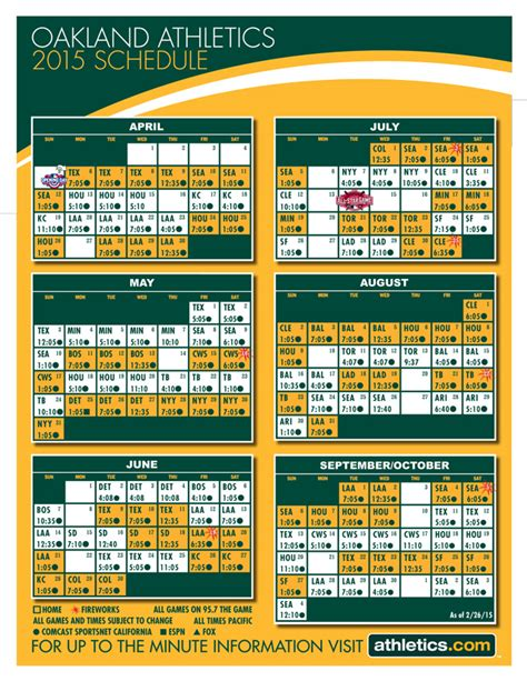 printable mlb schedule 2015 printable schedules athletics com schedule