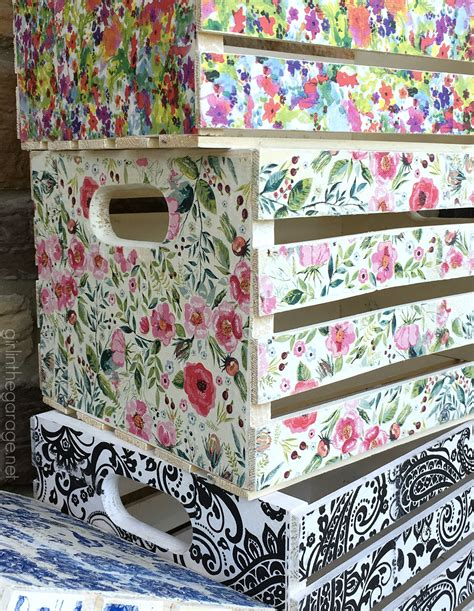 decoupage crates framed cork boards and drawer shelves